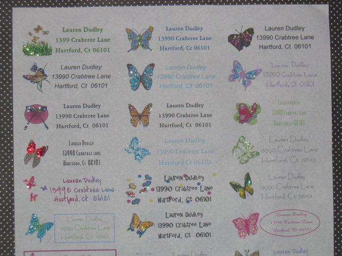 address labels glittered butterflies**ON SALE**