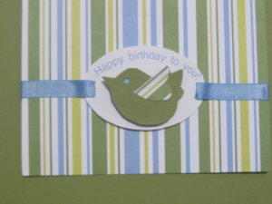 Handmade striped bird birthday card