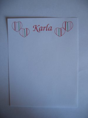personalised striped heart notepads