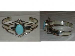 native american bracelet with natural turquoise