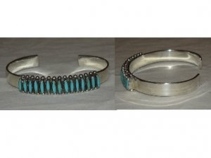 high quality sterling silver bracelet adorned with natural needlepoint turquoise