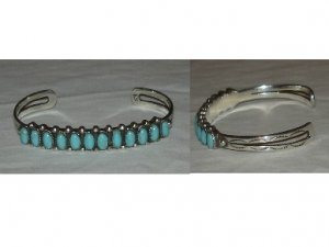 Contemporary style silver bracelet with wonderful turquoise