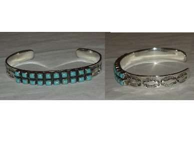 20 small turquoise stones on sterling silver bracelet a must have