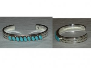 Silver bracelet adorned with 9 natural turquoise stones and hand polished to a mirror finish