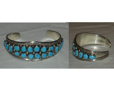 19 sleeping beauty turquoise nuggets on a cluster cuff bracelet