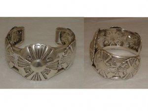 Traditional Navajo Sterling Silver Shield Cuff Bracelet