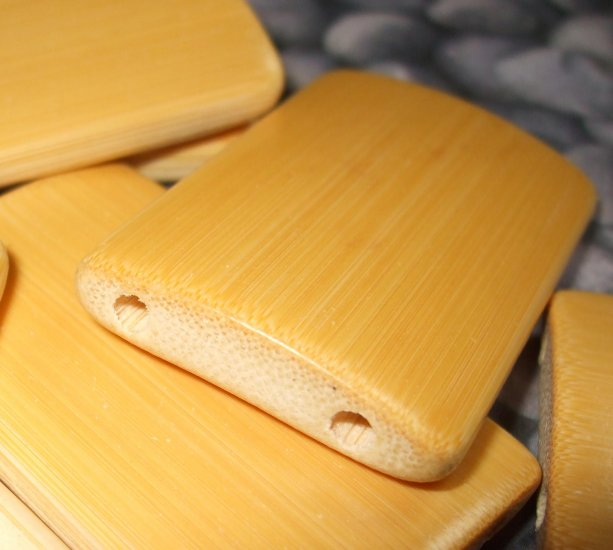 10 LARGE NATURAL BAMBOO TILE BEADS DOMINOS ALTERED ART ASIAN ESST