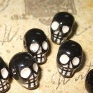2 Tiny Black and White Ceramic Skull Beads 10mm X 8mm