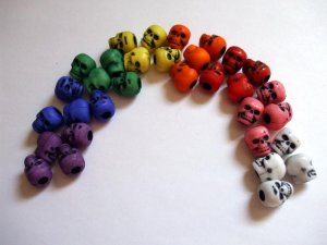 32 RAINBOW COLORED DAy oF thE DeAd Skulls Beads LOLITA