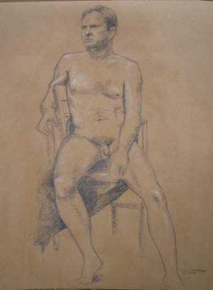 Original Conte Crayon Drawing Nude Seated Male Art Front View by LJT