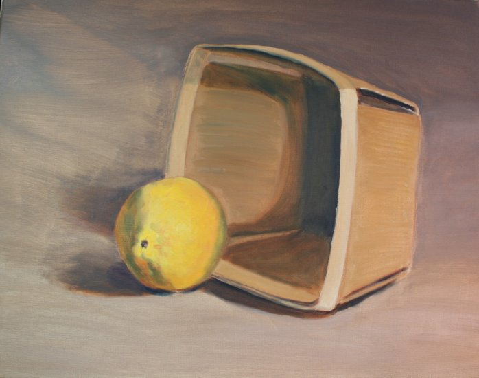 Original Oil Painting Still Life Lemon Fruit Stretched Canvas Art by LJT