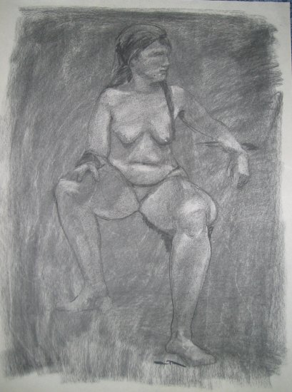 Original Charcoal Drawing Nude Voluptuous Seated Female Art by LJT
