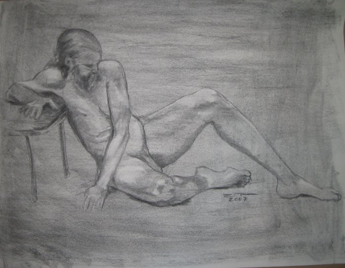Original Charcoal Drawing Nude Male Seated on floor Art by LJT
