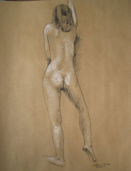 Original Conte Crayon Drawing Nude Standing Female Rear View Art by LJT