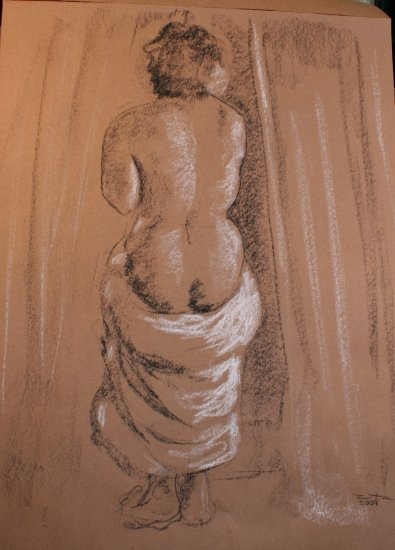 Original Conte Crayon Drawing Nude Female Standing with Drape Rear View Art by LJT