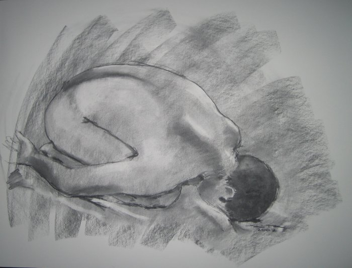 Abstract Original Charcoal Drawing Nude Male Yoga Child's Pose Art by LJT