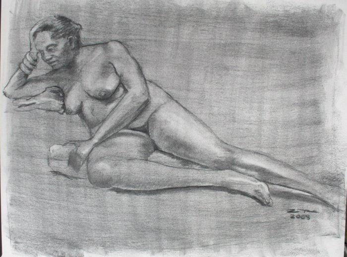Original Charcoal Drawing Nude Voluptuous Reclining Female Art by LJT