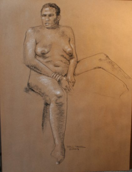 Original Black and White Conte Crayon Drawing Seated Voluptuous African American Female Nude Art LJT