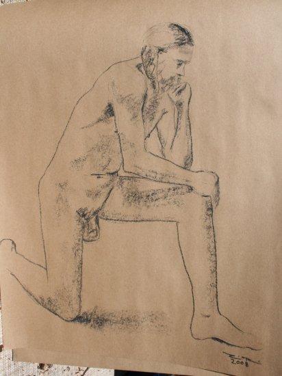 Original Conte Crayon Drawing Nude Kneeling Male Art by LJT