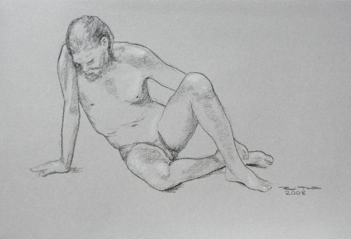 Original Black and White Conte Crayon Life Drawing Male Seated toned paper Art by LJT