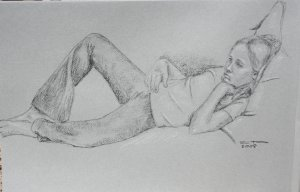 Original Black and White Conte Crayon Drawing Young Girl on Sofa toned paper Art by LJT