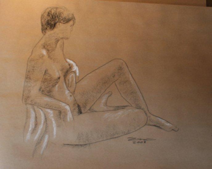 Original Conte Chalk Drawing Nude Female Drape Side view Art by LJT