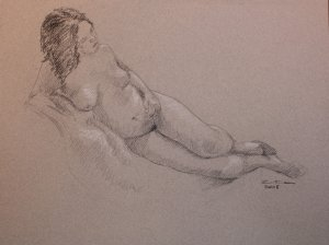 Reclining Voluptuous Female Nude Drawing Black and White Conte Crayon Toned Paper Art by LJT