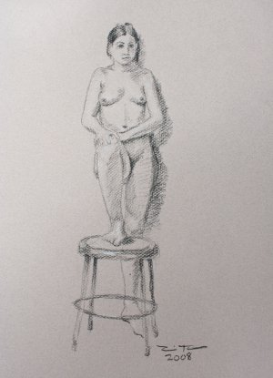 Original Black and White Conte Crayon Drawing Standing Female Nude toned paper Art by LJT