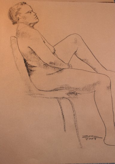 Original Conte Crayon Drawing Voluptuous Nude Female Seated Art by LJT