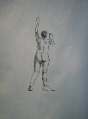 Original Charcoal Drawing Standing Female Nude Rear View Art by LJT