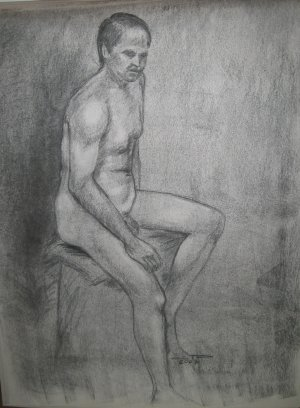 Original Charcoal Drawing Muscular Nude Male Seated Art by LJT