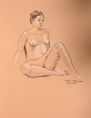 Original Black and White conte crayon drawing Seated Nude Female on melon toned paper 2 Art by LJT