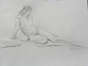 Original Black and White Conte Crayon Life Drawing Nude Male Reclining toned paper Art by LJT