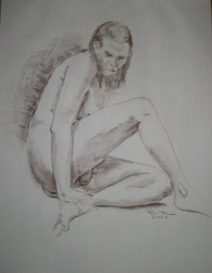 Original Brown Conte Crayon Drawing Nude Bearded Male Sitting on Floor with Legs Bent Art by LJT