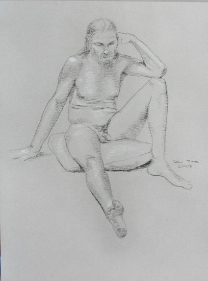 Original Black and White Conte Crayon Life Drawing Nude Male Foreshortened Leg toned paper Art  LJT