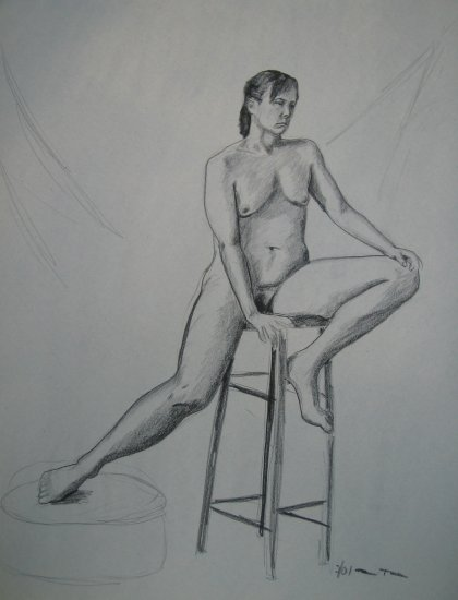 Original Charcoal Drawing Seated Female Nude Front View Art by LJT