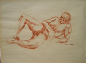 Original Conte Crayon Nude Life Drawing Large Muscular Male Reclining Frontal View Art by LJT