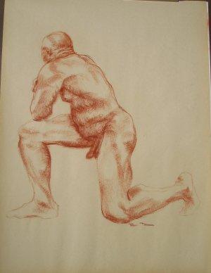 Original Conte Crayon Nude Life Drawing Large Muscular Male Kneeling Art by LJT