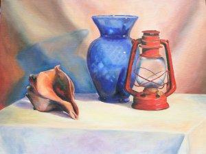 Original Oil Painting Still Life Blue Glass Vase Lantern Shell Stretched Canvas Art by LJT