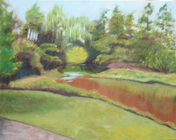 Original Oil Landscape Painting Bronx River Art by LJT