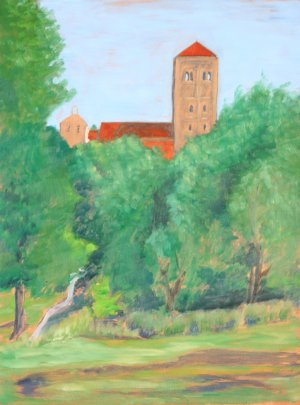 Original Oil Landscape Painting The Cloisters and Trees Art by LJT