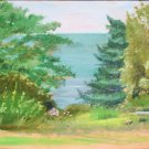 Original Oil Landscape Painting Trees Hudson River Palisades Art by LJT