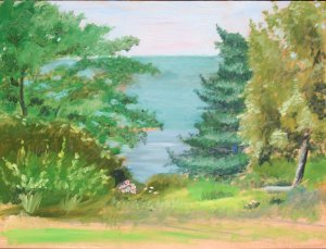 Original Oil Landscape Painting Trees Hudson River Palisades Art by LJT