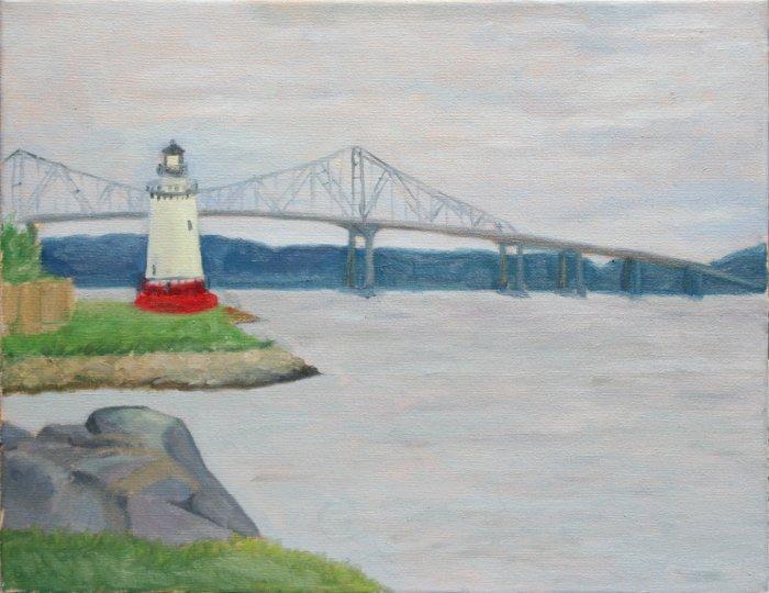 Original Oil Landscape Painting Lighthouse Hudson River Tapan Zee Bridge Palisades Art by LJT