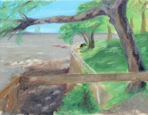 Original Oil Landscape Painting Tree over Hudson River Art by LJT