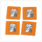 Orange Photo Frame Coaster 4pc