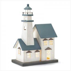 Wood Lighthouse Table Top Night Light