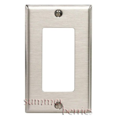 Single Decora Wallplate / Switchplate / Outlet Cover - Brushed Stainless Steel (set of 3)