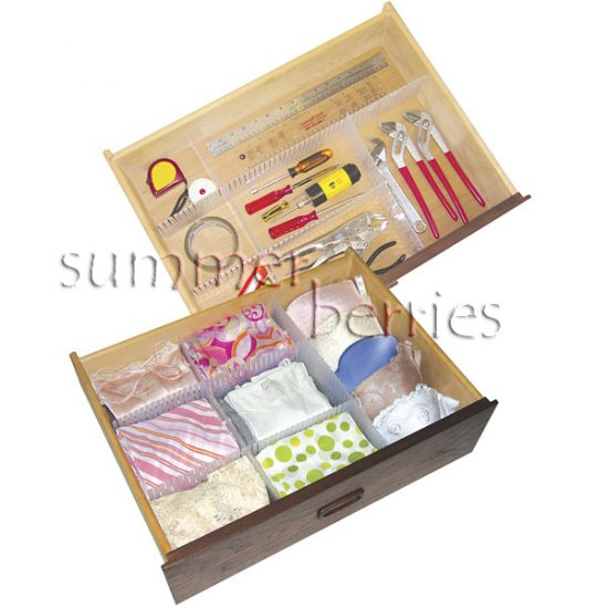 Drawer Organizer / Divider / Partition - Clear Plastic - 40x4cm (Set of 4)