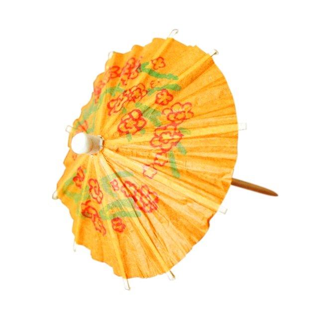 Mini Cocktail Parasol Drink Umbrella - Orange (Set of 10)